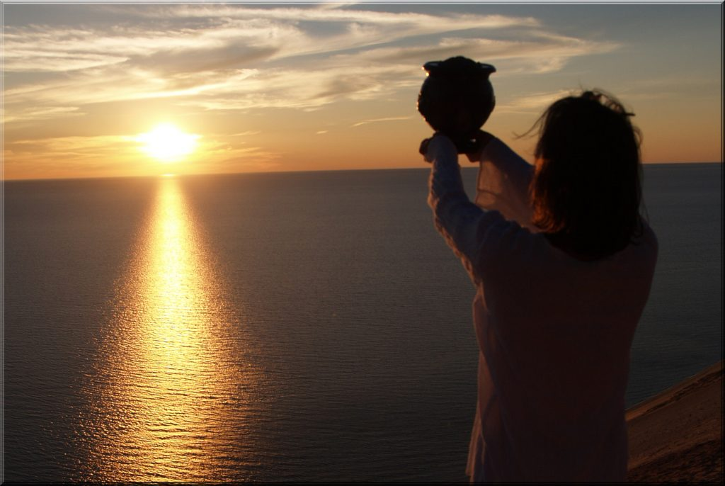 Woman Scattering Cremains