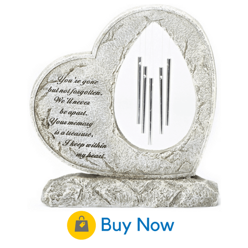 14 personalized memorial garden stones for your loved one a heart carved from gray resin stone encloses a set of beautiful wind chimes workwithnaturefo