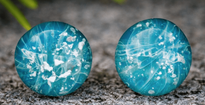TURQUOISE STUD EARRINGS WITH CREMATION ASH