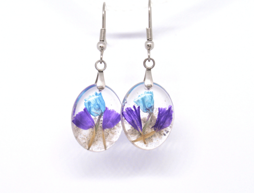 STATICE FLOWER EARRINGS WITH CREMAINS