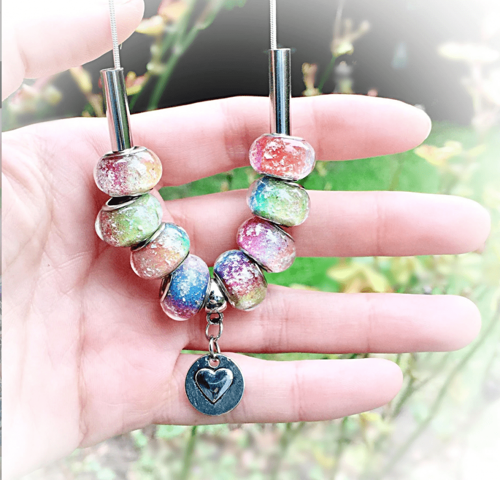 RAINBOW BEADS WITH INFUSED CREMATION ASH